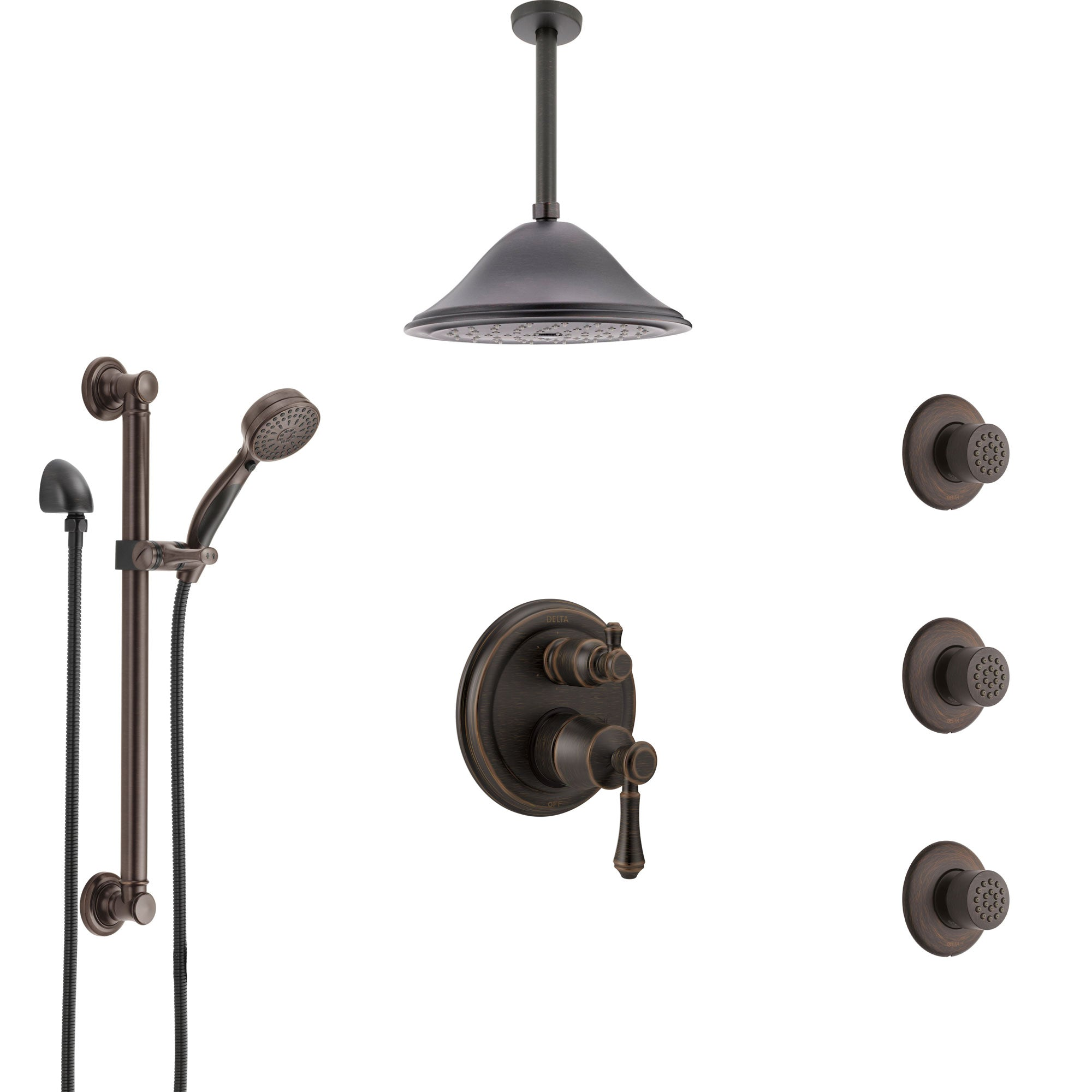 Delta Cassidy Venetian Bronze Integrated Diverter Shower System Control Handle, Ceiling Showerhead, 3 Body Sprays, and Grab Bar Hand Shower SS24997RB8