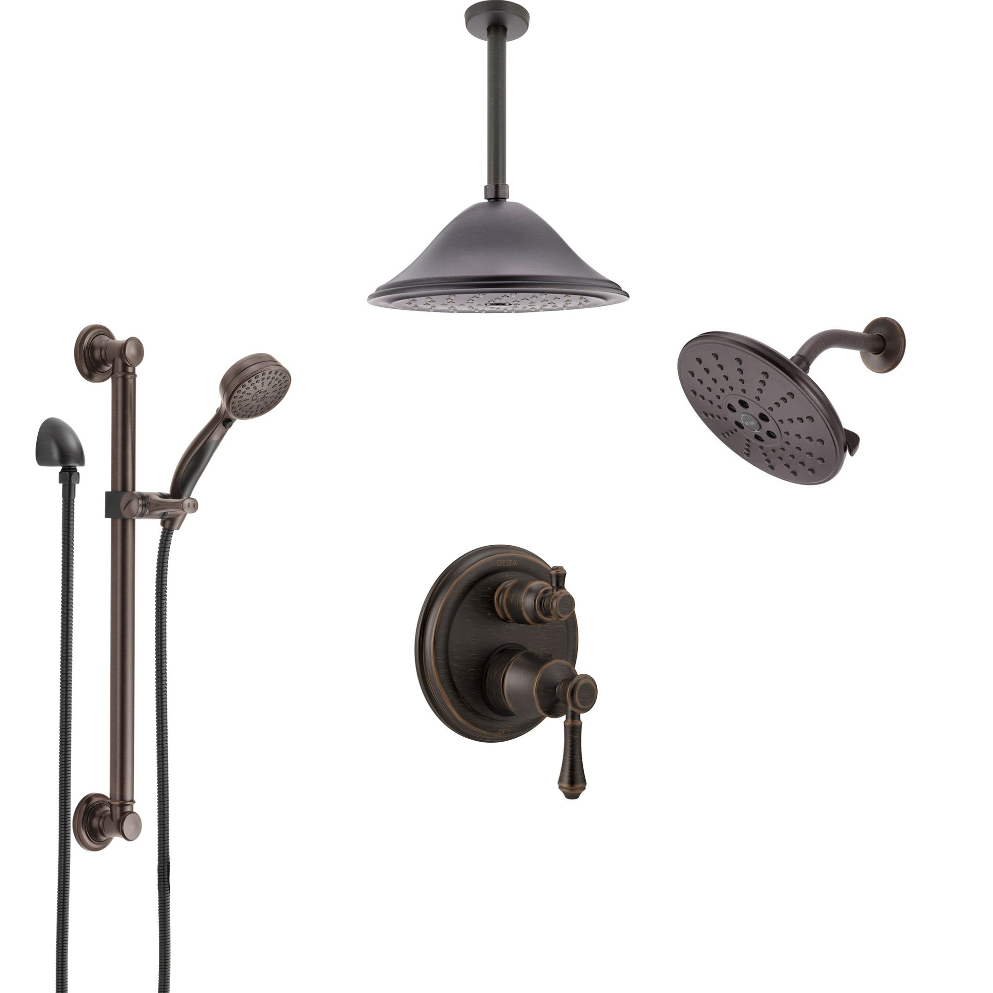 Delta Cassidy Venetian Bronze Integrated Diverter Shower System Control Handle, Showerhead, Ceiling Showerhead, and Grab Bar Hand Shower SS24997RB9