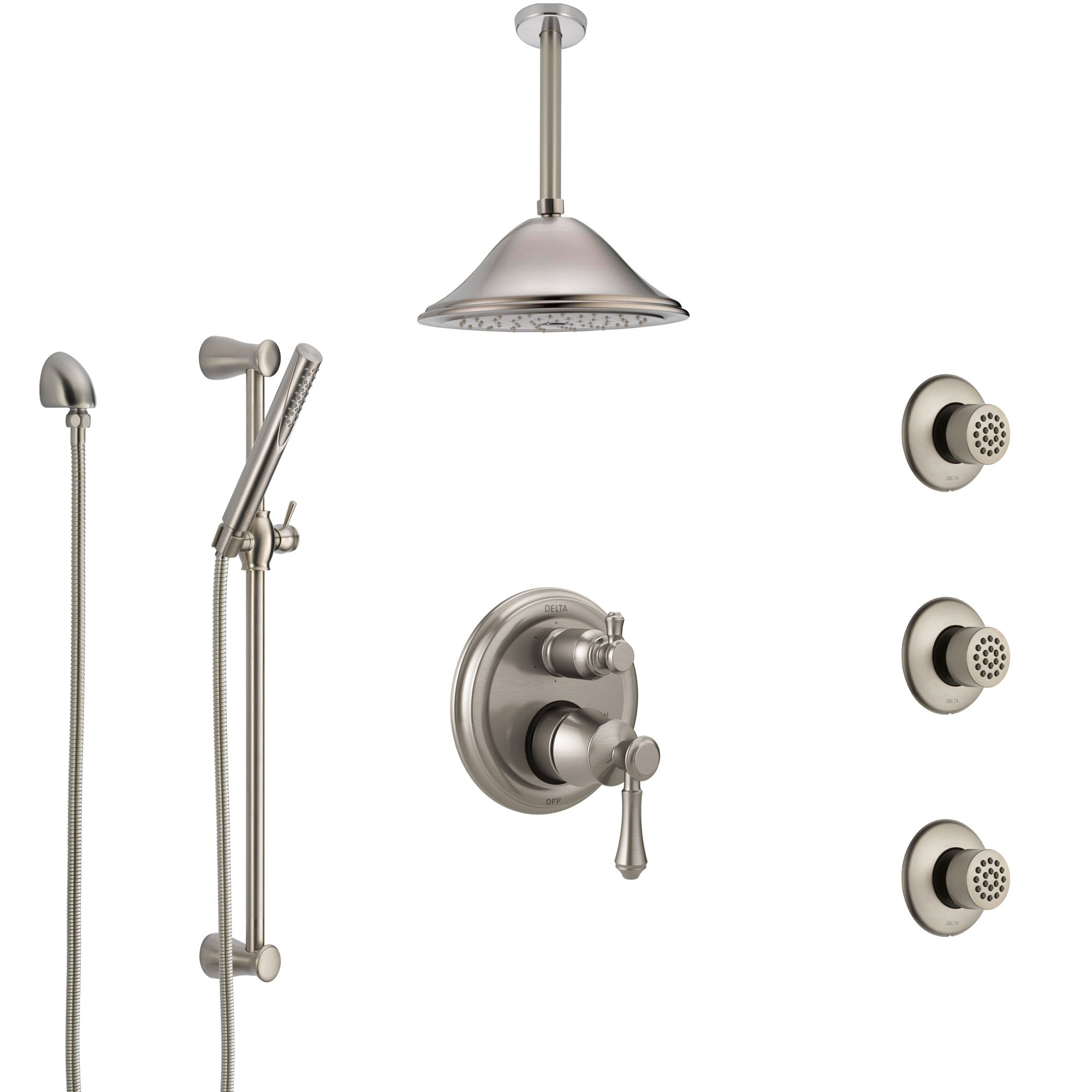 Delta Cassidy Stainless Steel Finish Integrated Diverter Shower System Control Handle, Ceiling Showerhead, 3 Body Sprays, and Hand Shower SS24997SS10