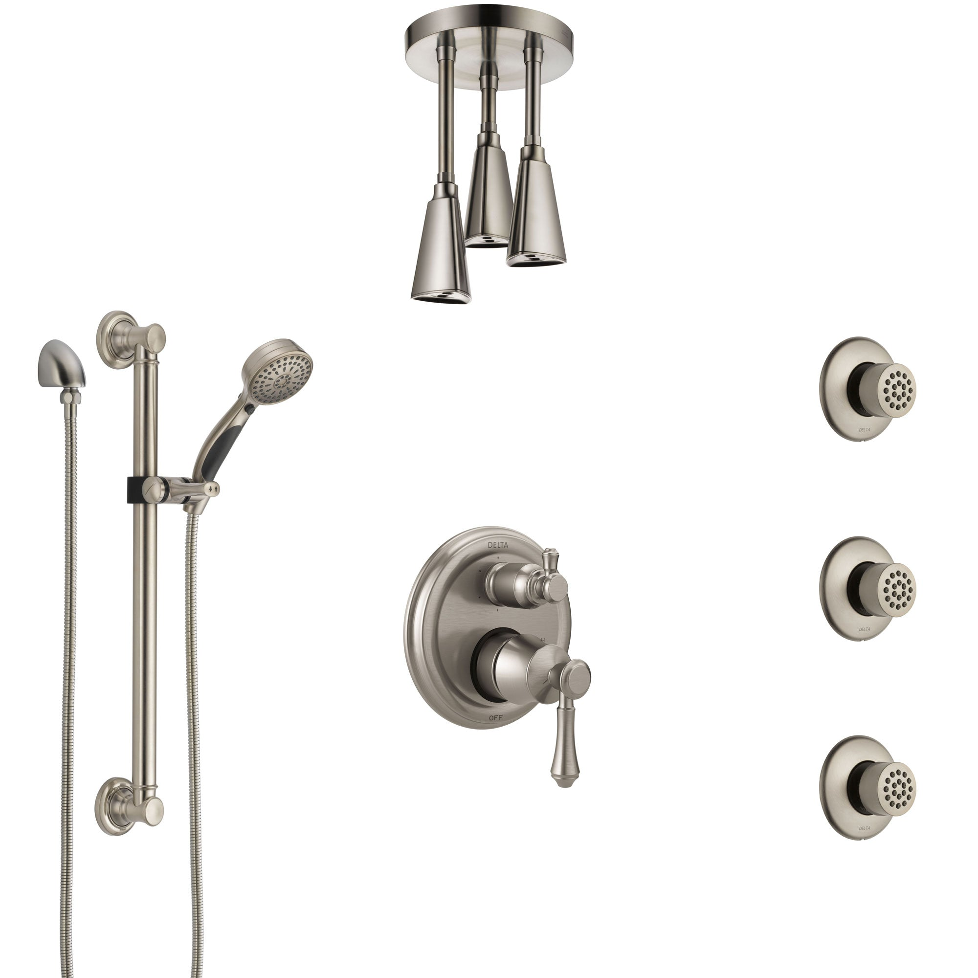Delta Cassidy Stainless Steel Finish Integrated Diverter Shower System Control Handle, Ceiling Showerhead, 3 Body Jets, Grab Bar Hand Spray SS24997SS4