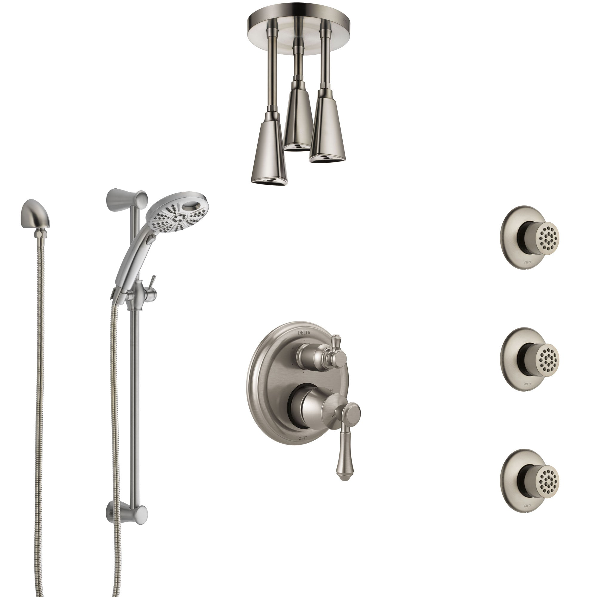 Delta Cassidy Stainless Steel Finish Integrated Diverter Shower System Control, Ceiling Showerhead, 3 Body Sprays, and Temp2O Hand Shower SS24997SS5