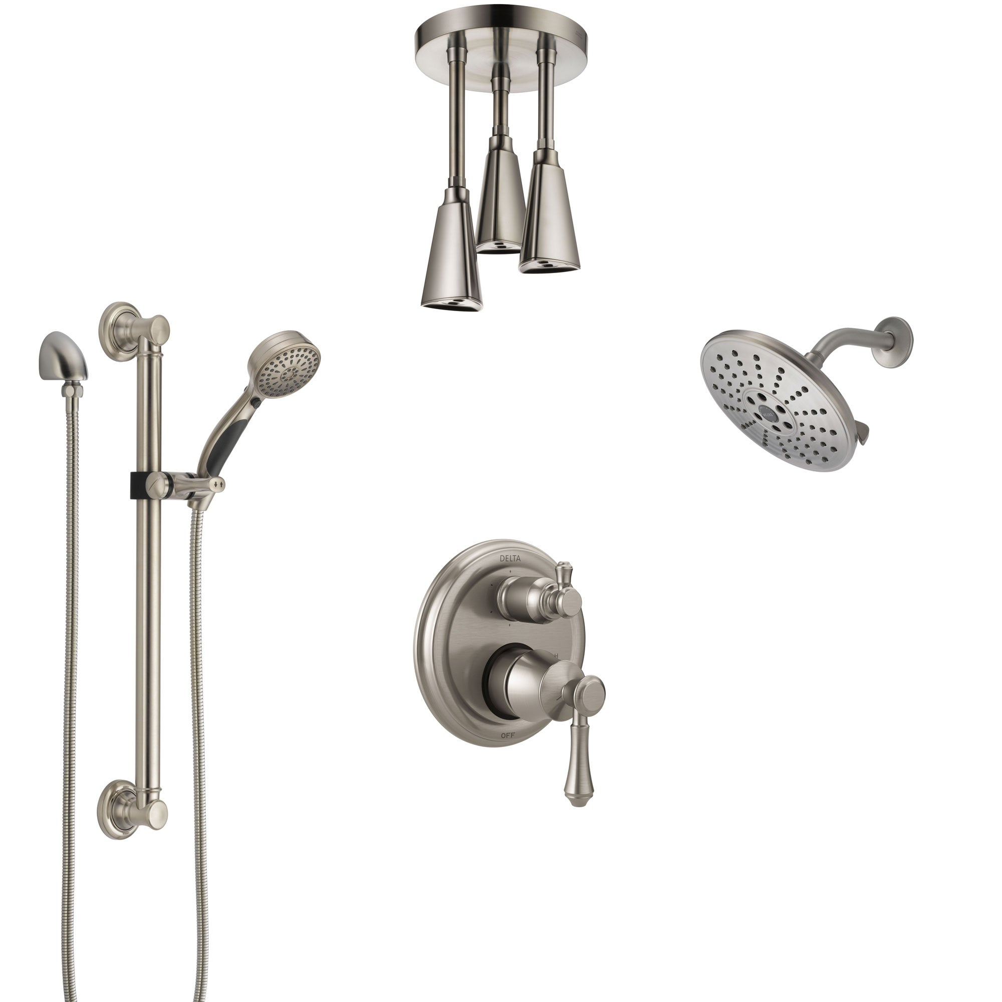 Delta Cassidy Stainless Steel Finish Integrated Diverter Shower System Control Handle, Showerhead, Ceiling Showerhead, Grab Bar Hand Spray SS24997SS7