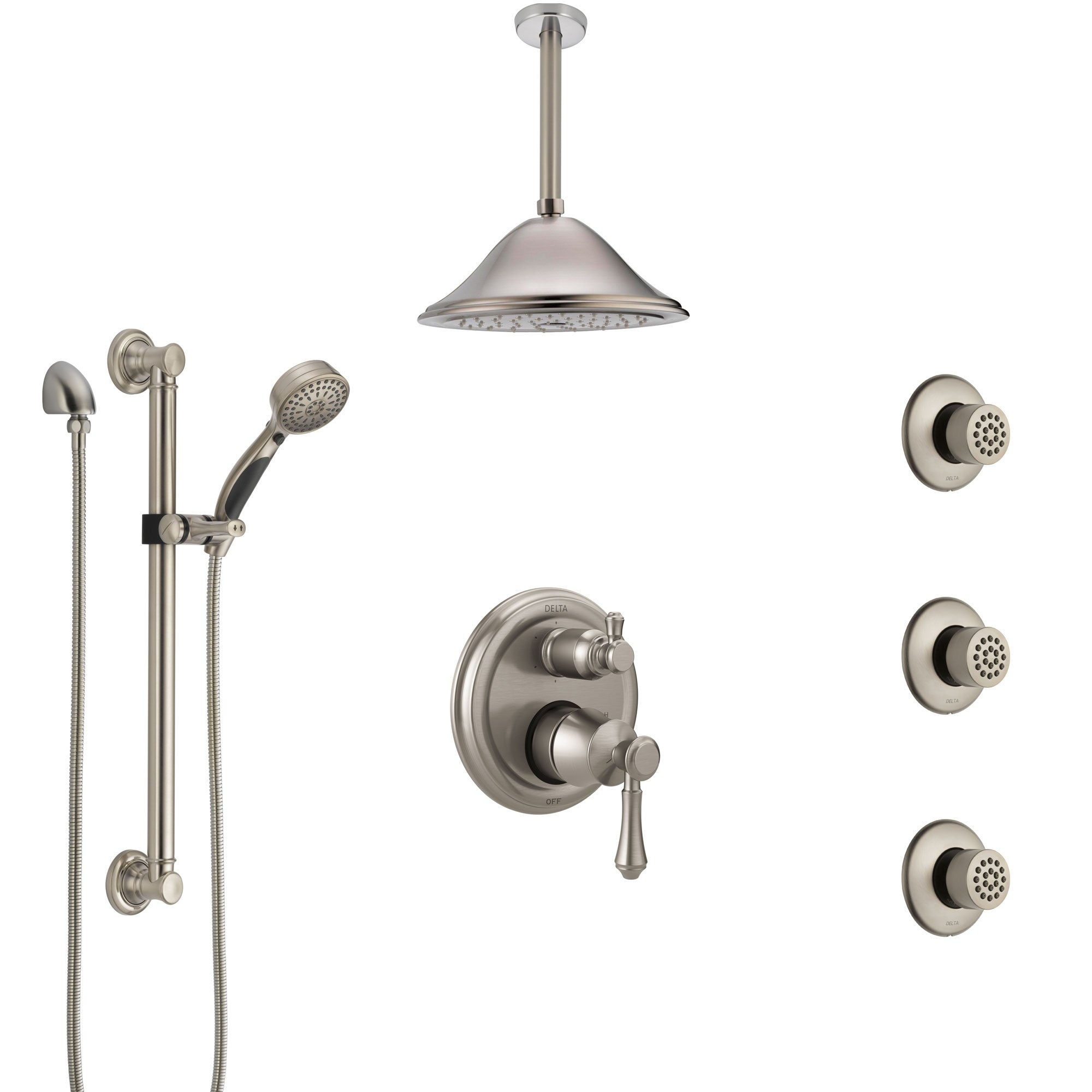 Delta Cassidy Stainless Steel Finish Integrated Diverter Shower System Control Handle, Ceiling Showerhead, 3 Body Jets, Grab Bar Hand Spray SS24997SS9