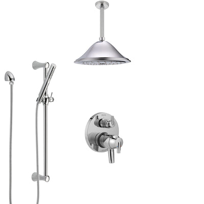 Delta Trinsic Chrome Finish Shower System with Dual Control Handle, Integrated Diverter, Ceiling Mount Showerhead, and Hand Shower SS278592