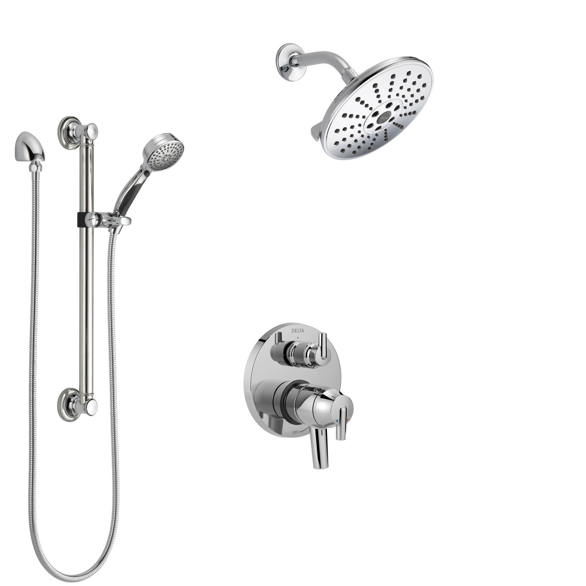 Delta Trinsic Chrome Finish Shower System With Dual Control Handle Integrated 3 Setting Diverter Showerhead And Hand Shower With Grab Bar Ss278596