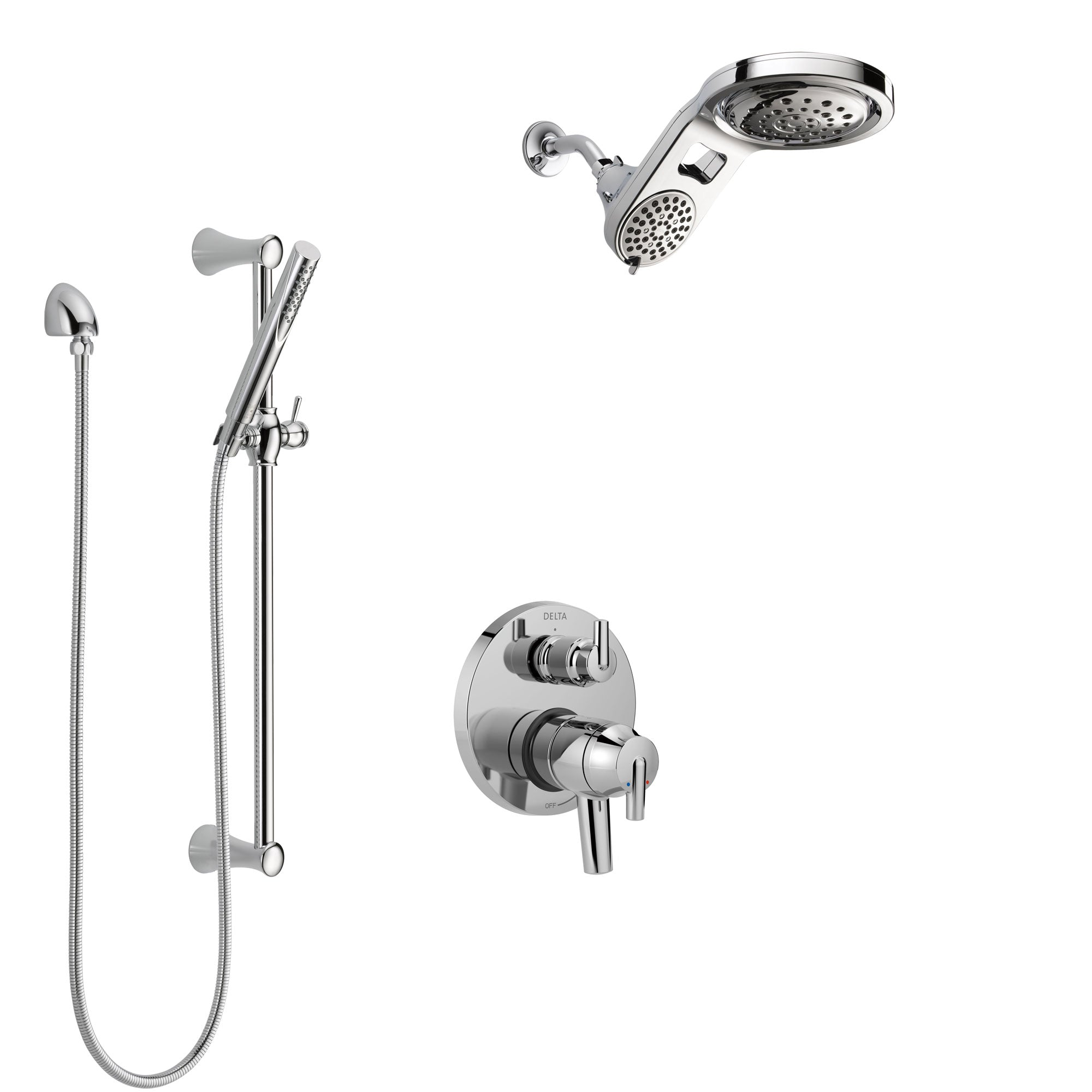 Delta Trinsic Chrome Finish Shower System with Dual Control Handle, Integrated Diverter, Dual Showerhead, and Hand Shower with Slidebar SS278599