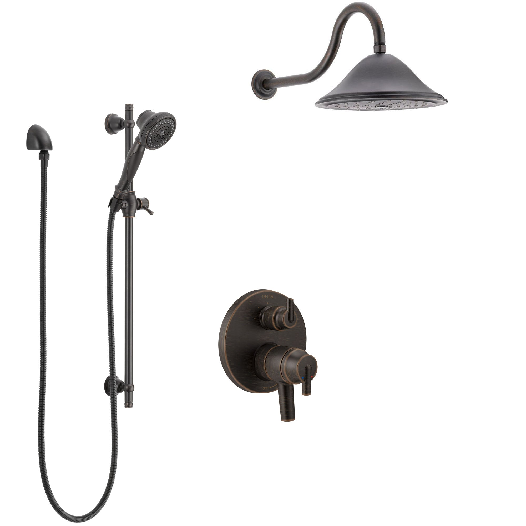Delta Trinsic Venetian Bronze Shower System with Dual Control Handle, Integrated Diverter, Showerhead, and Hand Shower with Slidebar SS27859RB11
