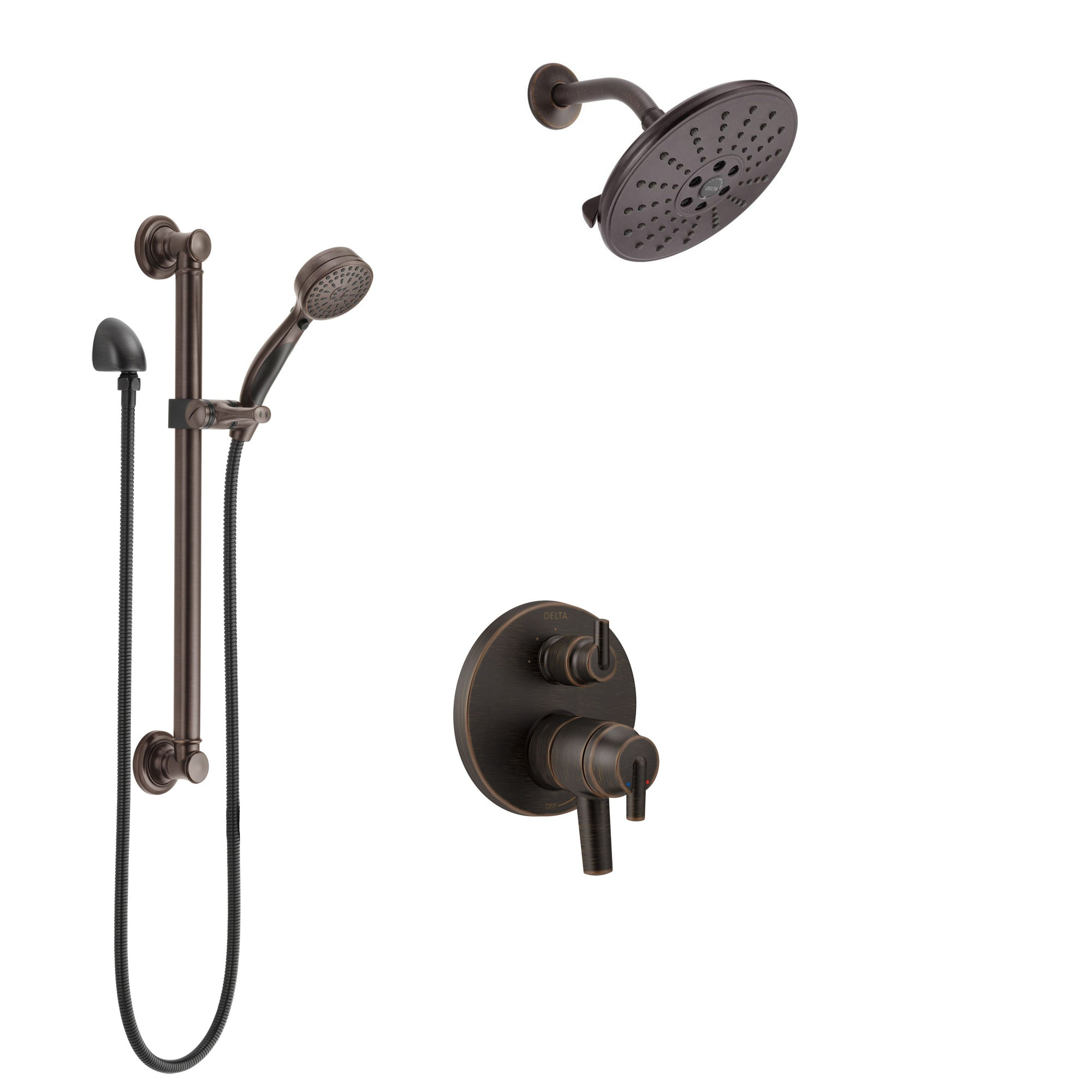 Delta Trinsic Venetian Bronze Shower System with Dual Control Handle, Integrated Diverter, Showerhead, and Hand Shower with Grab Bar SS27859RB3