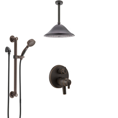 Delta Trinsic Venetian Bronze Shower System with Dual Control Handle, Integrated Diverter, Ceiling Showerhead, and Grab Bar Hand Shower SS27859RB9