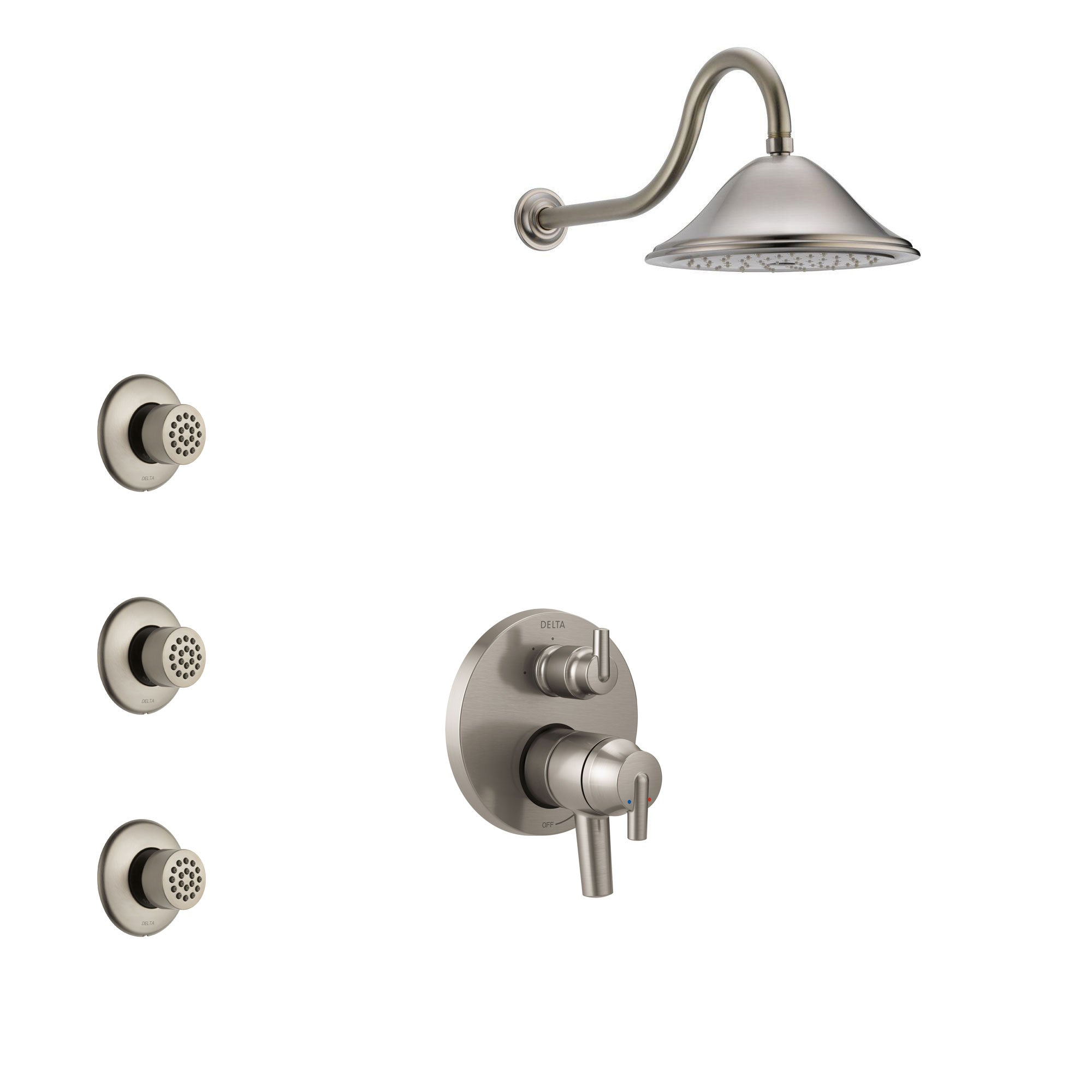 Delta Trinsic Stainless Steel Finish Shower System with Dual Control Handle, Integrated 3-Setting Diverter, Showerhead, and 3 Body Sprays SS27859SS10