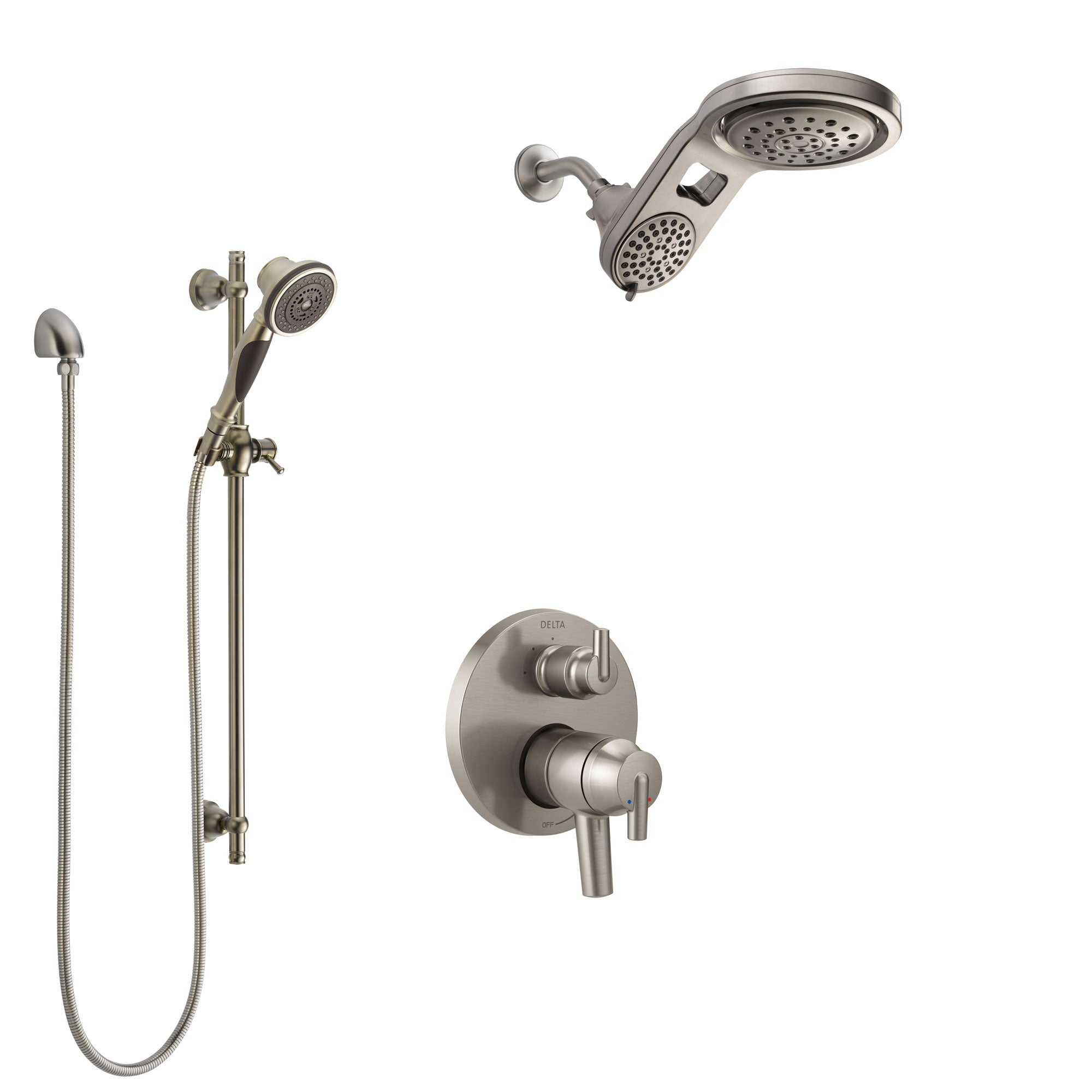 Delta Trinsic Dual Control Handle Stainless Steel Finish Shower System, Integrated Diverter, Dual Showerhead, and Hand Shower SS27859SS12