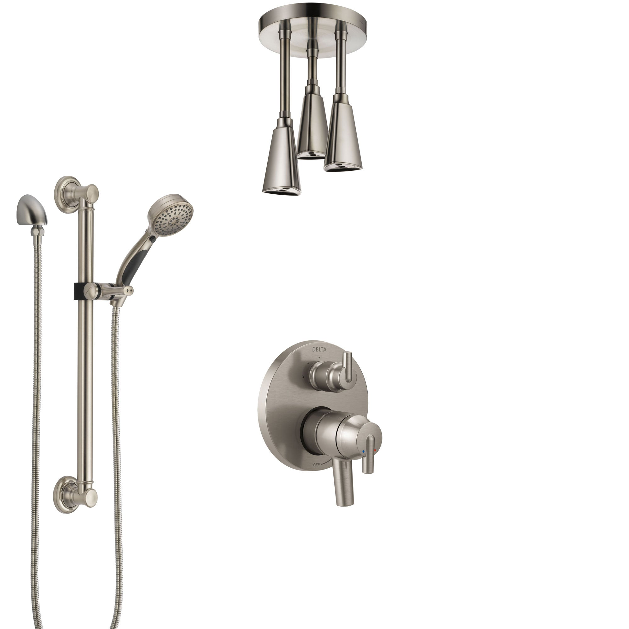 Delta Trinsic Dual Control Handle Stainless Steel Finish Integrated Diverter Shower System, Ceiling Showerhead, and Grab Bar Hand Shower SS27859SS1