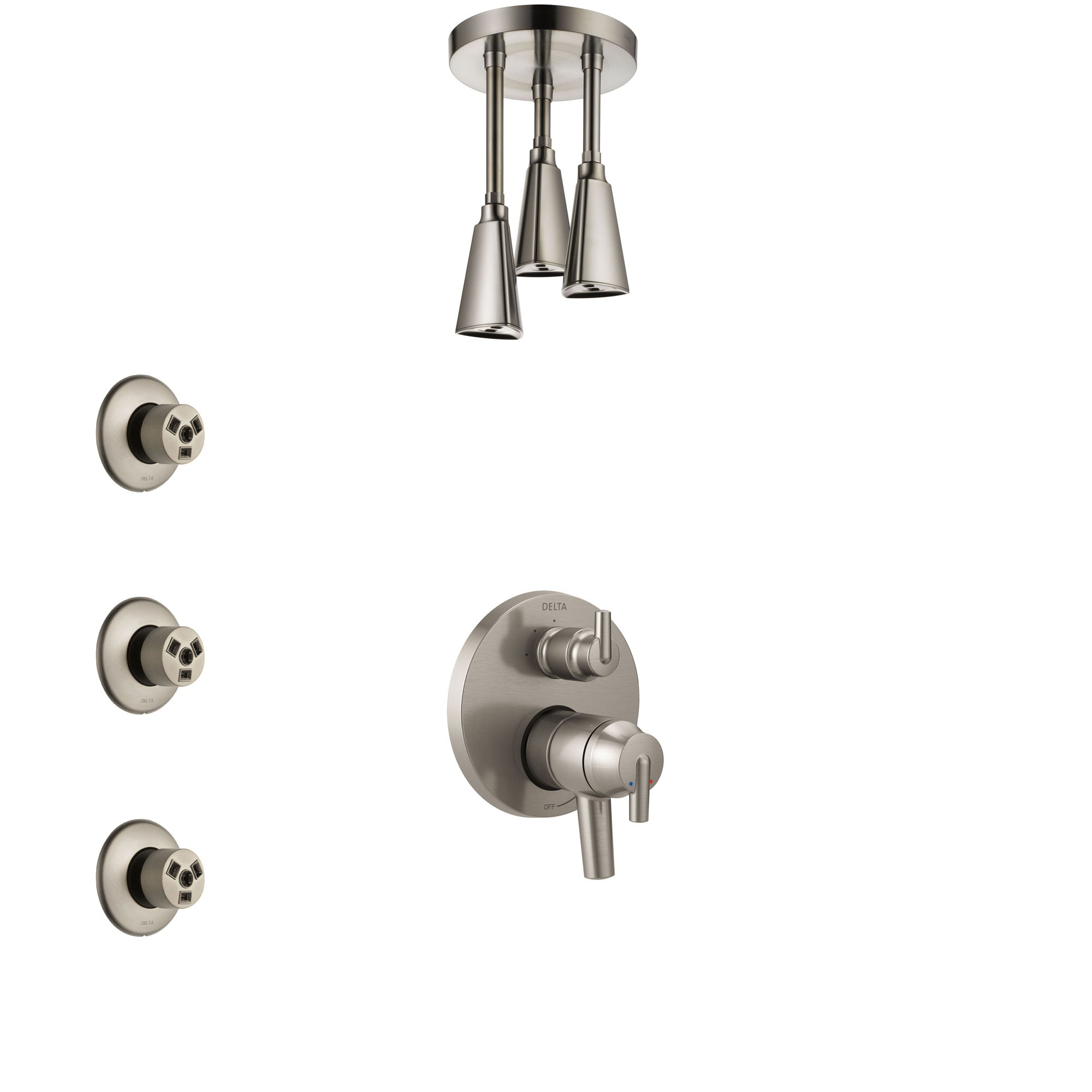 Delta Trinsic Dual Control Handle Stainless Steel Finish Shower System, Integrated Diverter, Ceiling Mount Showerhead, and 3 Body Sprays SS27859SS2