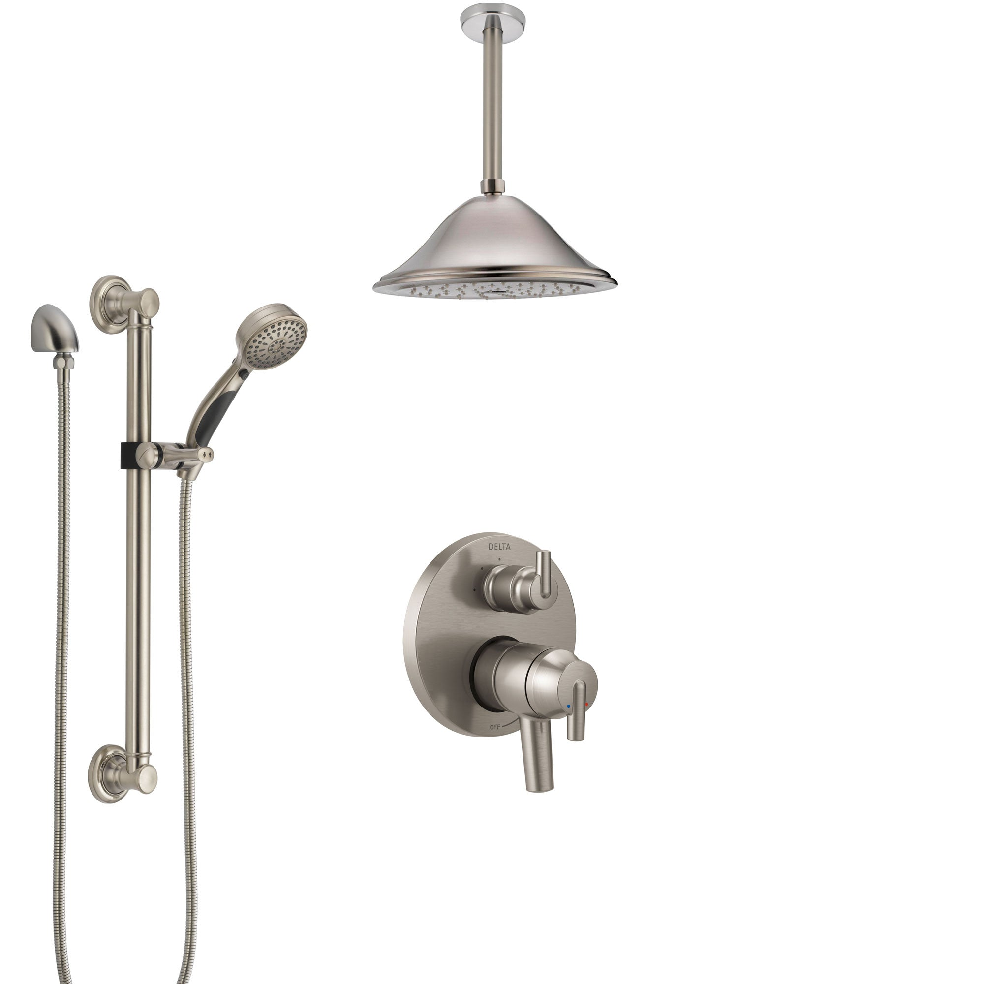 Delta Trinsic Dual Control Handle Stainless Steel Finish Integrated Diverter Shower System, Ceiling Showerhead, and Grab Bar Hand Shower SS27859SS7