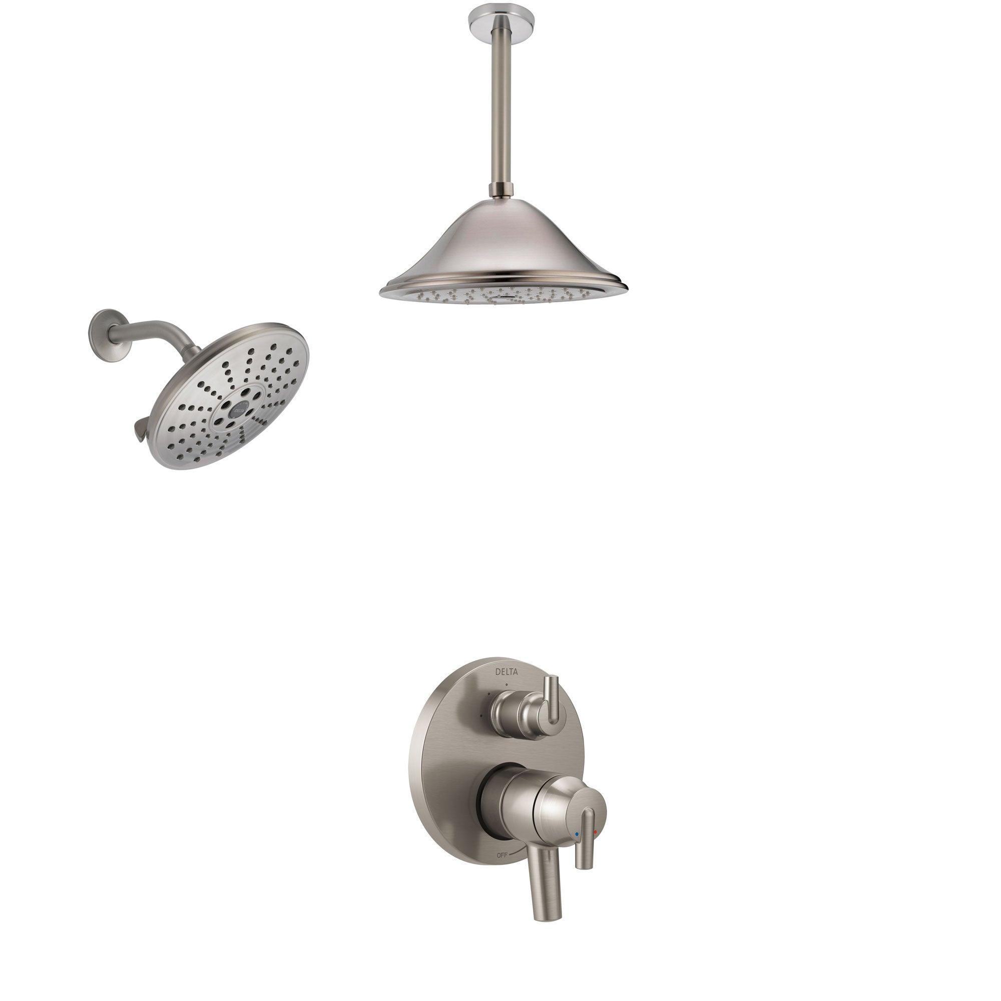 Delta Trinsic Stainless Steel Finish Shower System with Dual Control Handle, Integrated Diverter, Showerhead, and Ceiling Mount Showerhead SS27859SS8