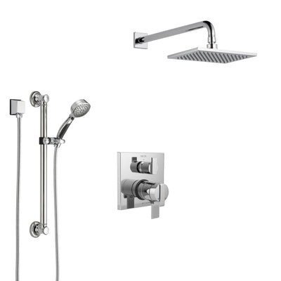 Delta Ara Chrome Finish Shower System with Dual Control Handle, Integrated 3-Setting Diverter, Showerhead, and Hand Shower with Grab Bar SS2786710