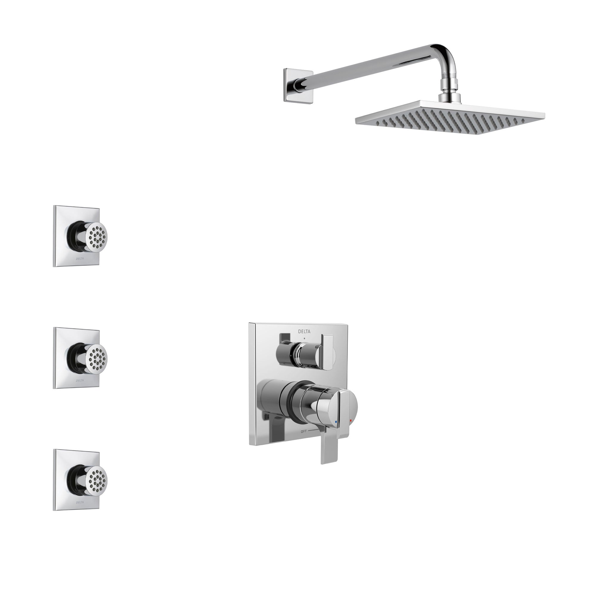 Delta Ara Chrome Finish Shower System with Dual Control Handle, Integrated 3-Setting Diverter, Showerhead, and 3 Body Sprays SS2786711