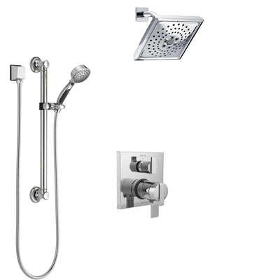 Delta Ara Chrome Finish Shower System with Dual Control Handle, Integrated 3-Setting Diverter, Showerhead, and Hand Shower with Grab Bar SS278671