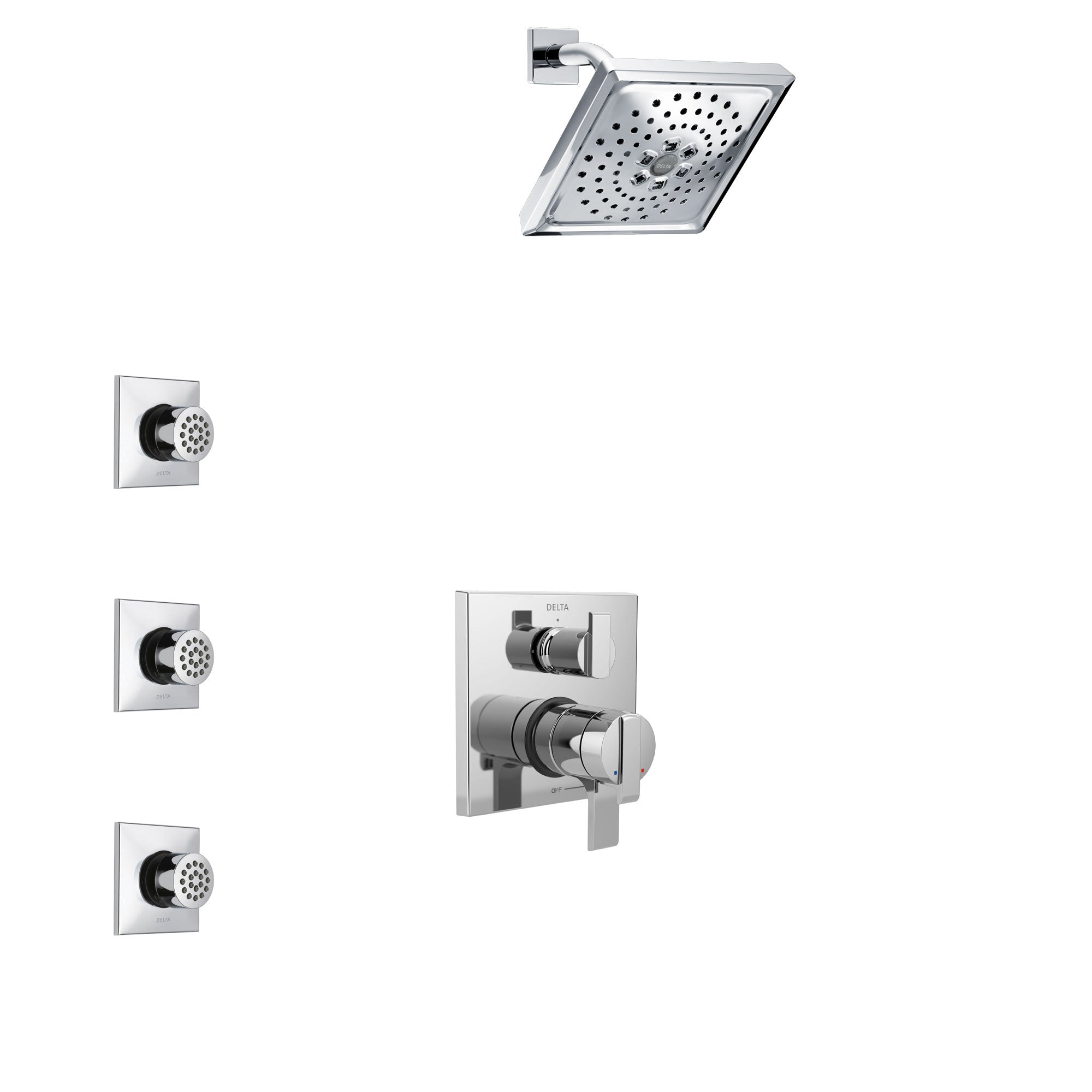 Delta Ara Chrome Finish Shower System with Dual Control Handle, Integrated 3-Setting Diverter, Showerhead, and 3 Body Sprays SS278673