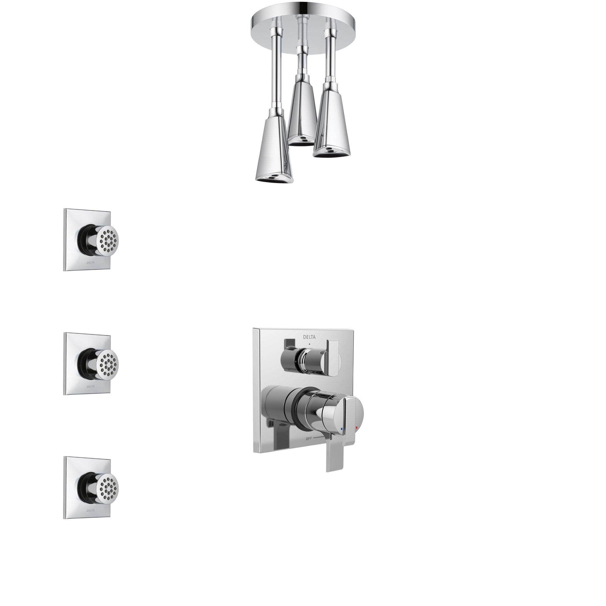 Delta Ara Chrome Finish Shower System with Dual Control Handle, Integrated 3-Setting Diverter, Ceiling Mount Showerhead, and 3 Body Sprays SS278674