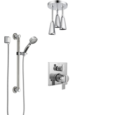 Delta Ara Chrome Finish Shower System with Dual Control Handle, Integrated Diverter, Ceiling Mount Showerhead, and Hand Shower with Grab Bar SS278675