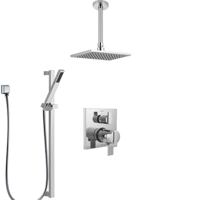 Delta Ara Chrome Finish Shower System with Dual Control Handle, Integrated Diverter, Ceiling Mount Showerhead, and Hand Shower with Slidebar SS278677
