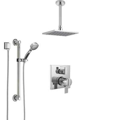 Delta Ara Chrome Finish Shower System with Dual Control Handle, Integrated Diverter, Ceiling Mount Showerhead, and Hand Shower with Grab Bar SS278679