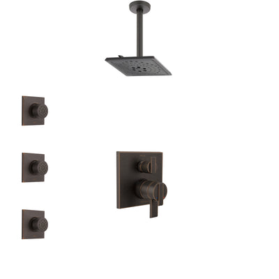 Delta Ara Venetian Bronze Shower System with Dual Control Handle, Integrated Diverter, Ceiling Mount Showerhead, and 3 Body Sprays SS27867RB12