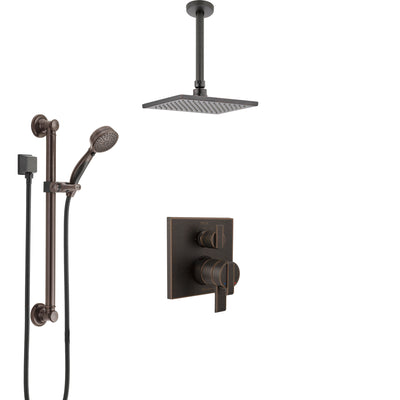 Delta Ara Venetian Bronze Shower System with Dual Control Handle, Integrated Diverter, Ceiling Mount Showerhead, and Grab Bar Hand Shower SS27867RB1