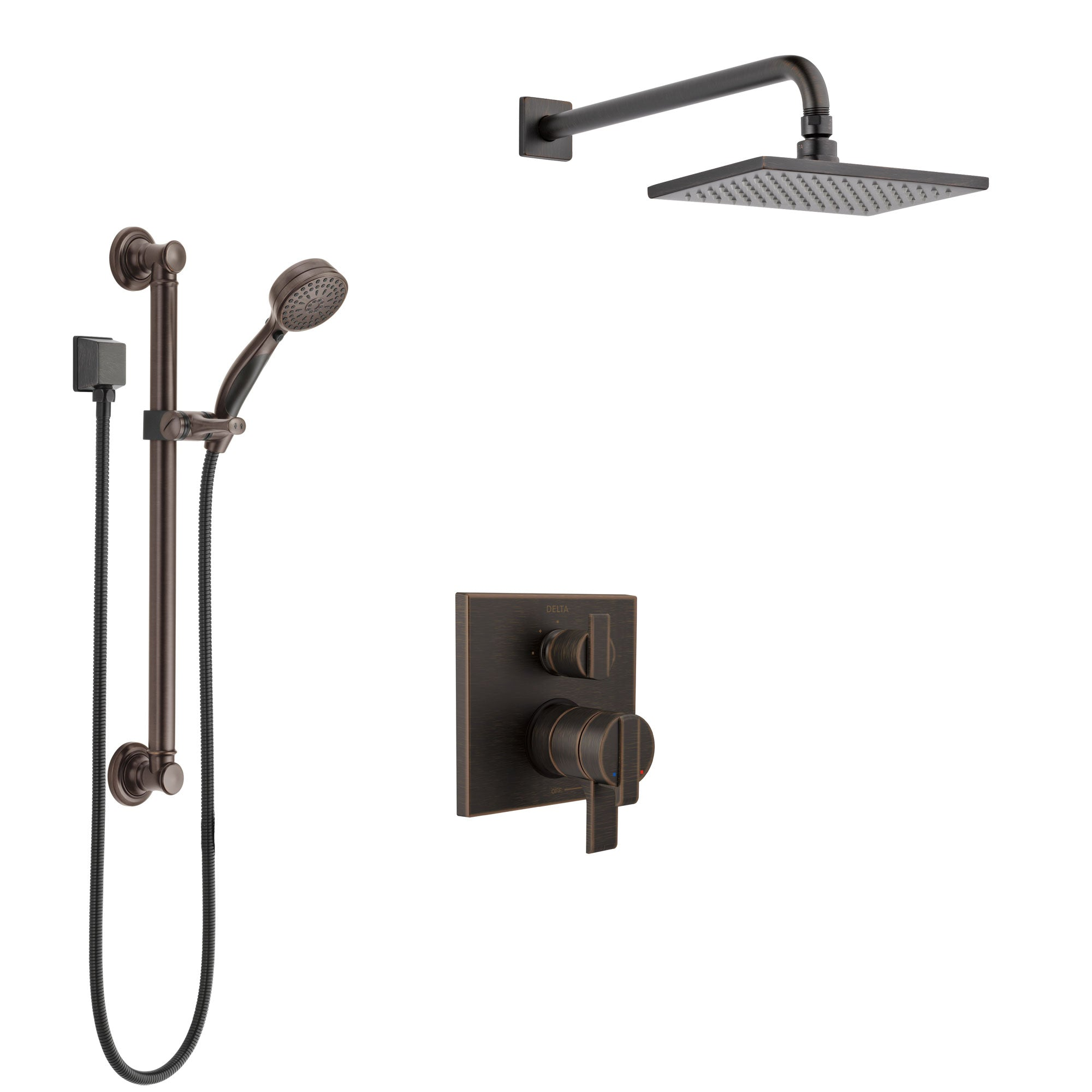 Delta Ara Venetian Bronze Shower System with Dual Control Handle, Integrated 3-Setting Diverter, Showerhead, and Hand Shower with Grab Bar SS27867RB2