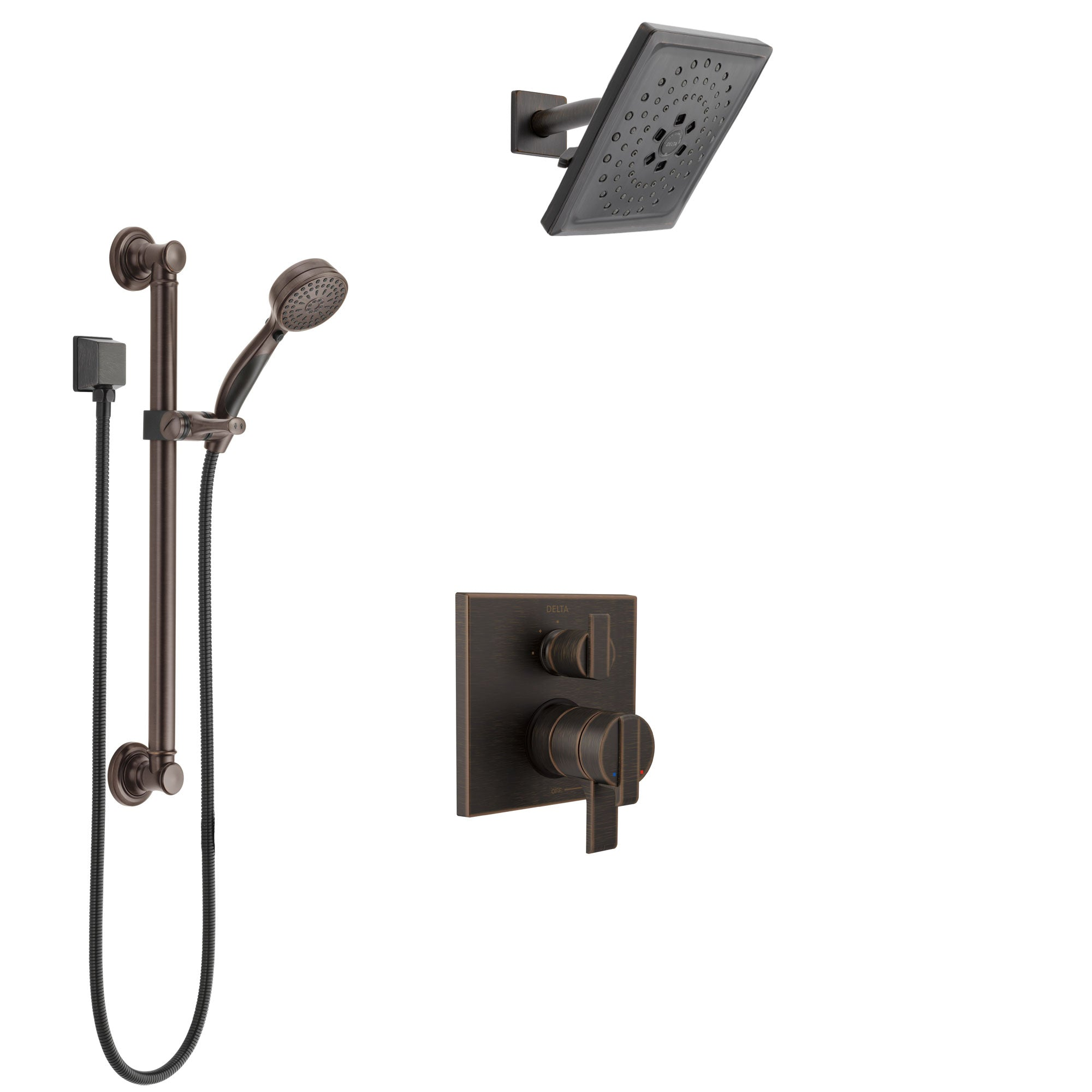 Delta Ara Venetian Bronze Shower System with Dual Control Handle, Integrated 3-Setting Diverter, Showerhead, and Hand Shower with Grab Bar SS27867RB3