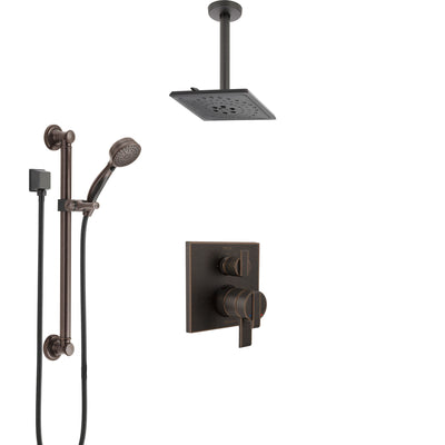 Delta Ara Venetian Bronze Shower System with Dual Control Handle, Integrated Diverter, Ceiling Mount Showerhead, and Grab Bar Hand Shower SS27867RB4