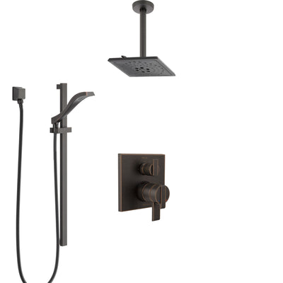 Delta Ara Venetian Bronze Shower System with Dual Control Handle, Integrated Diverter, Ceiling Mount Showerhead, and Hand Shower SS27867RB5