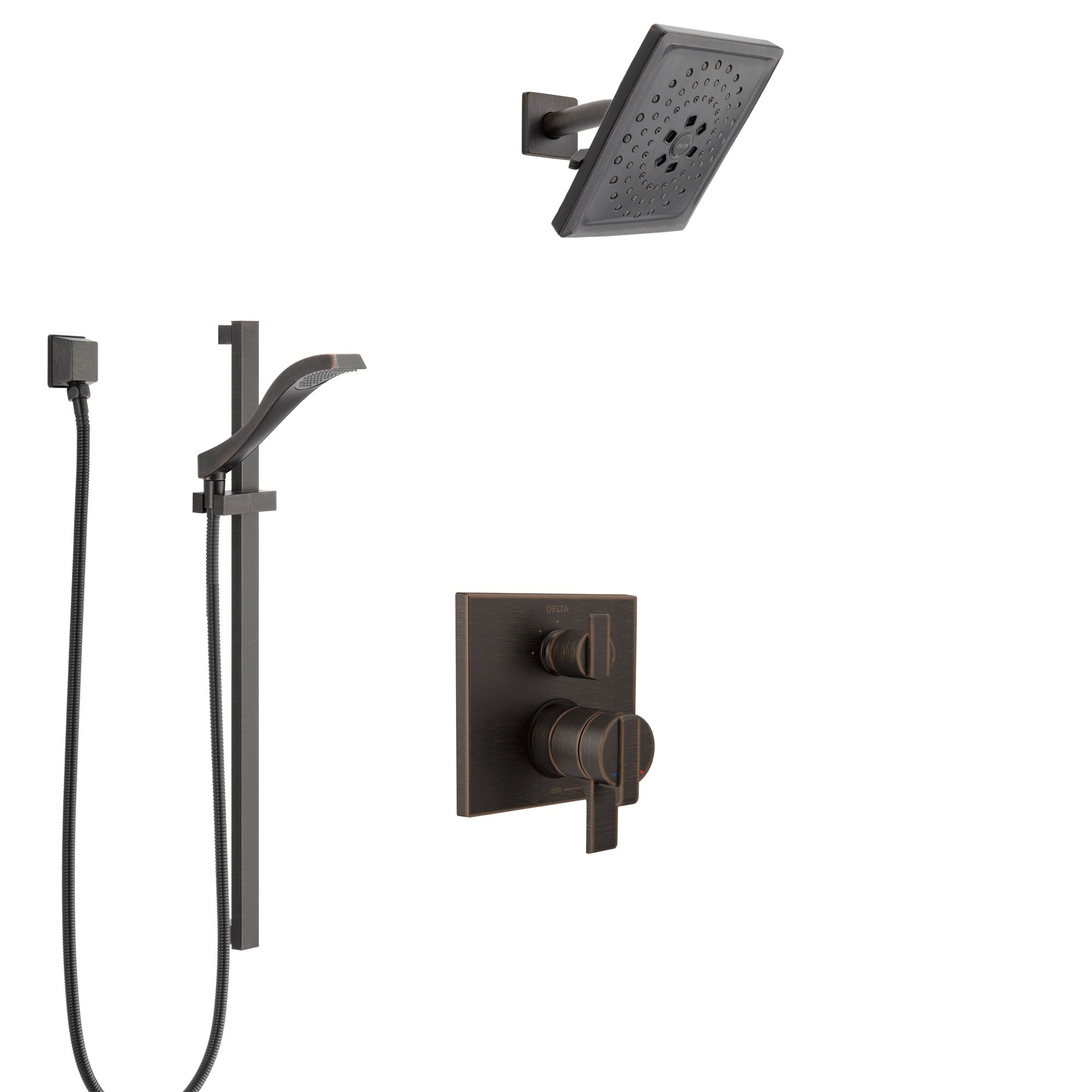Delta Ara Venetian Bronze Shower System with Dual Control Handle, Integrated 3-Setting Diverter, Showerhead, and Hand Shower with Slidebar SS27867RB6