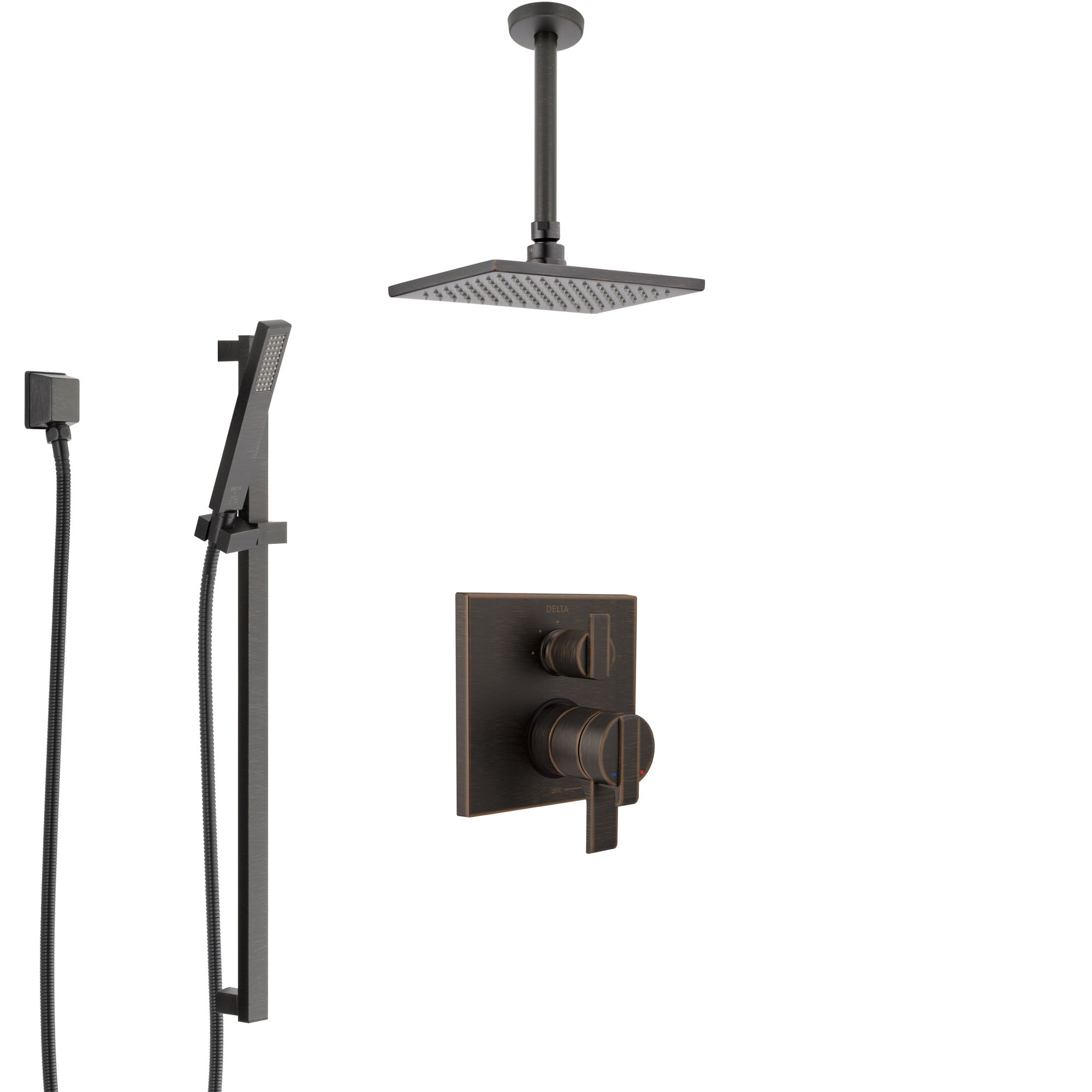Delta Ara Venetian Bronze Shower System With Dual Control Handle Integrated Diverter Ceiling Mount Showerhead And Hand Shower Ss27867rb8