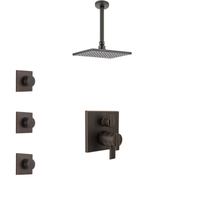 Delta Ara Venetian Bronze Shower System with Dual Control Handle, Integrated Diverter, Ceiling Mount Showerhead, and 3 Body Sprays SS27867RB9