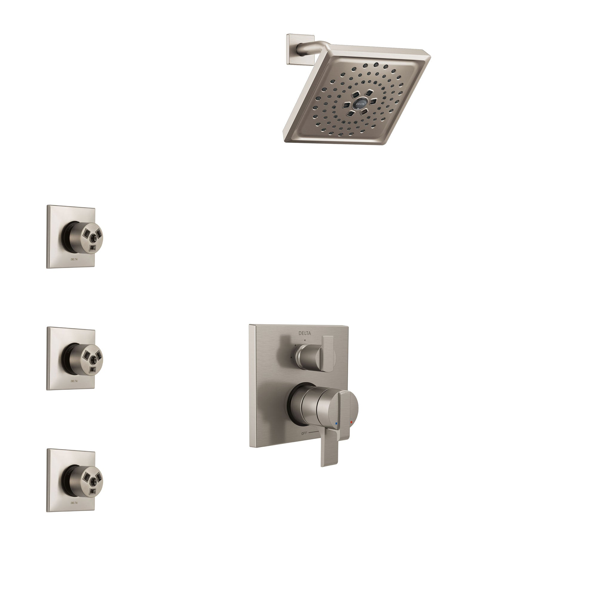 Delta Ara Stainless Steel Finish Shower System with Dual Control Handle, Integrated 3-Setting Diverter, Showerhead, and 3 Body Sprays SS27867SS12