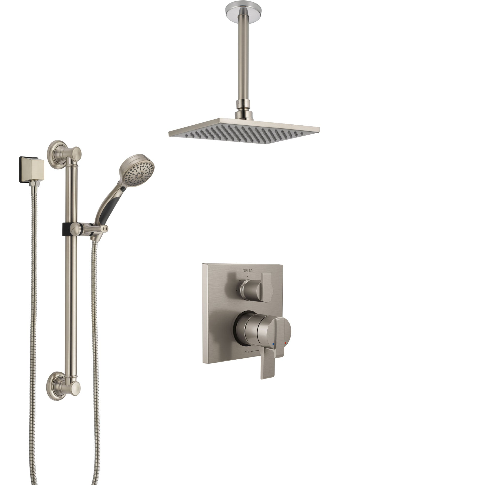 Delta Ara Dual Control Handle Stainless Steel Finish Integrated Diverter Shower System, Ceiling Mount Showerhead, and Grab Bar Hand Shower SS27867SS2