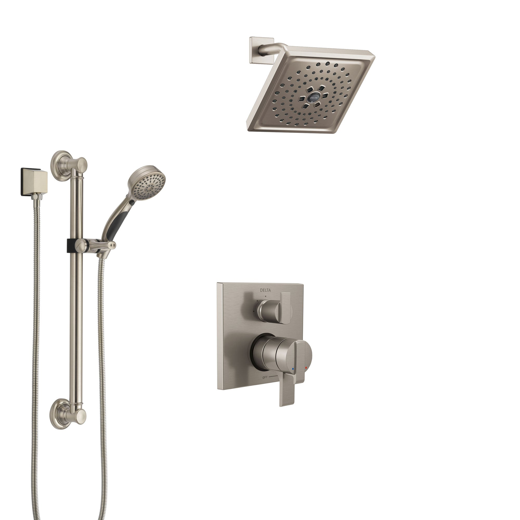 Delta Ara Stainless Steel Finish Shower System with Dual Control Handle, Integrated Diverter, Showerhead, and Hand Shower with Grab Bar SS27867SS4