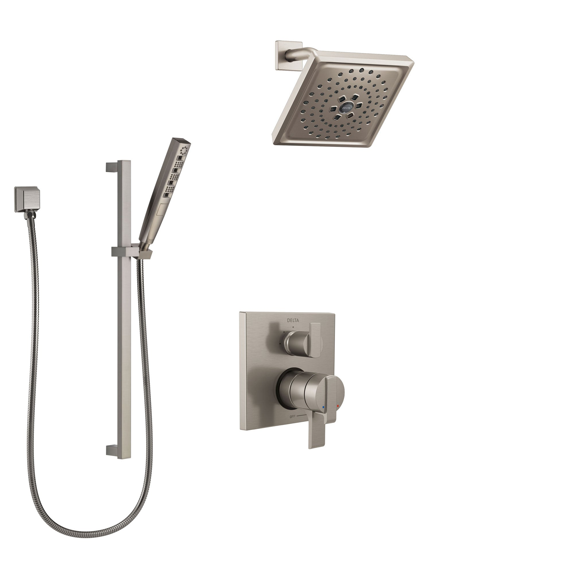 Delta Ara Stainless Steel Finish Shower System with Dual Control Handle, Integrated Diverter, Showerhead, and Hand Shower with Slidebar SS27867SS5