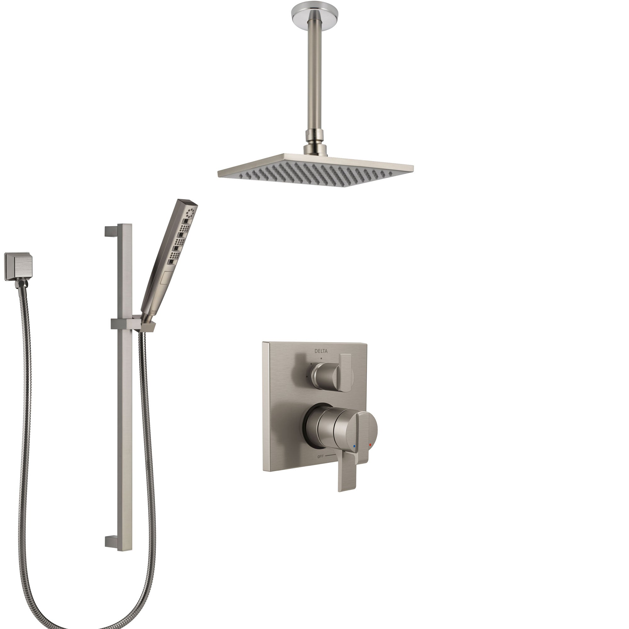 Delta Ara Dual Control Handle Stainless Steel Finish Shower System, Integrated Diverter, Ceiling Mount Showerhead, and Hand Shower SS27867SS7