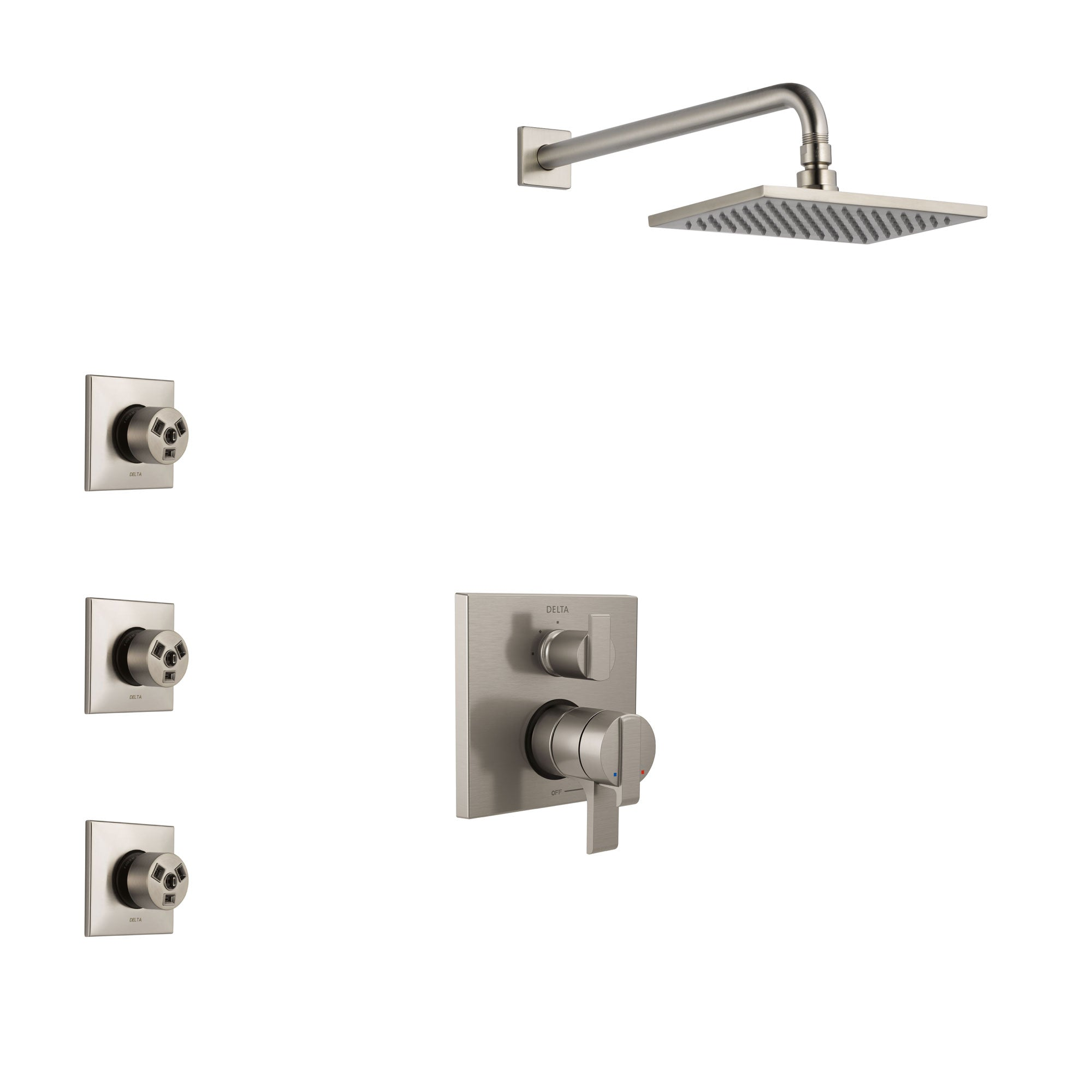 Delta Ara Stainless Steel Finish Shower System with Dual Control Handle, Integrated 3-Setting Diverter, Showerhead, and 3 Body Sprays SS27867SS9