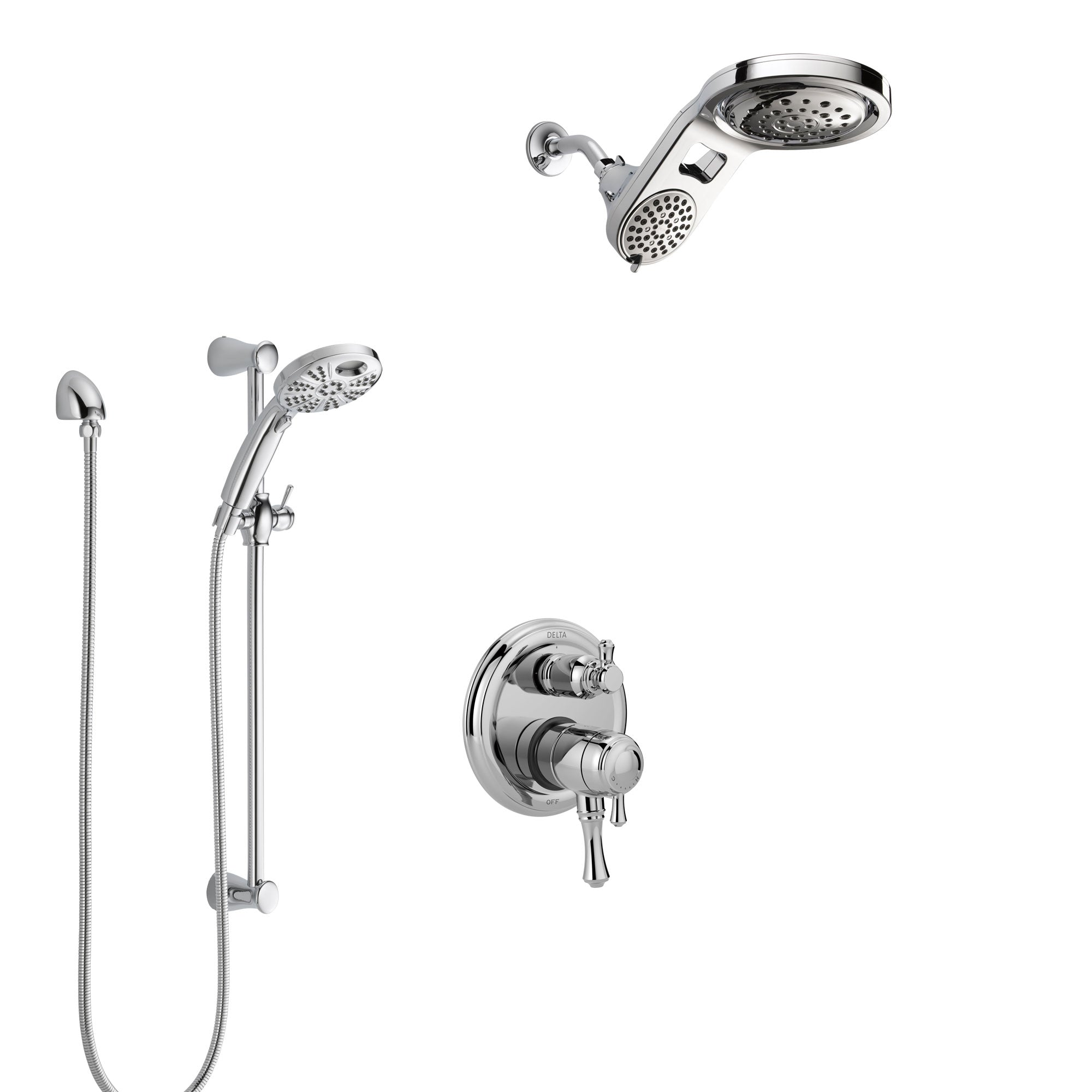 Delta Cassidy Chrome Finish Shower System with Dual Control Handle, Integrated Diverter, Dual Showerhead, & Temp2O Hand Shower with Slidebar SS2789711
