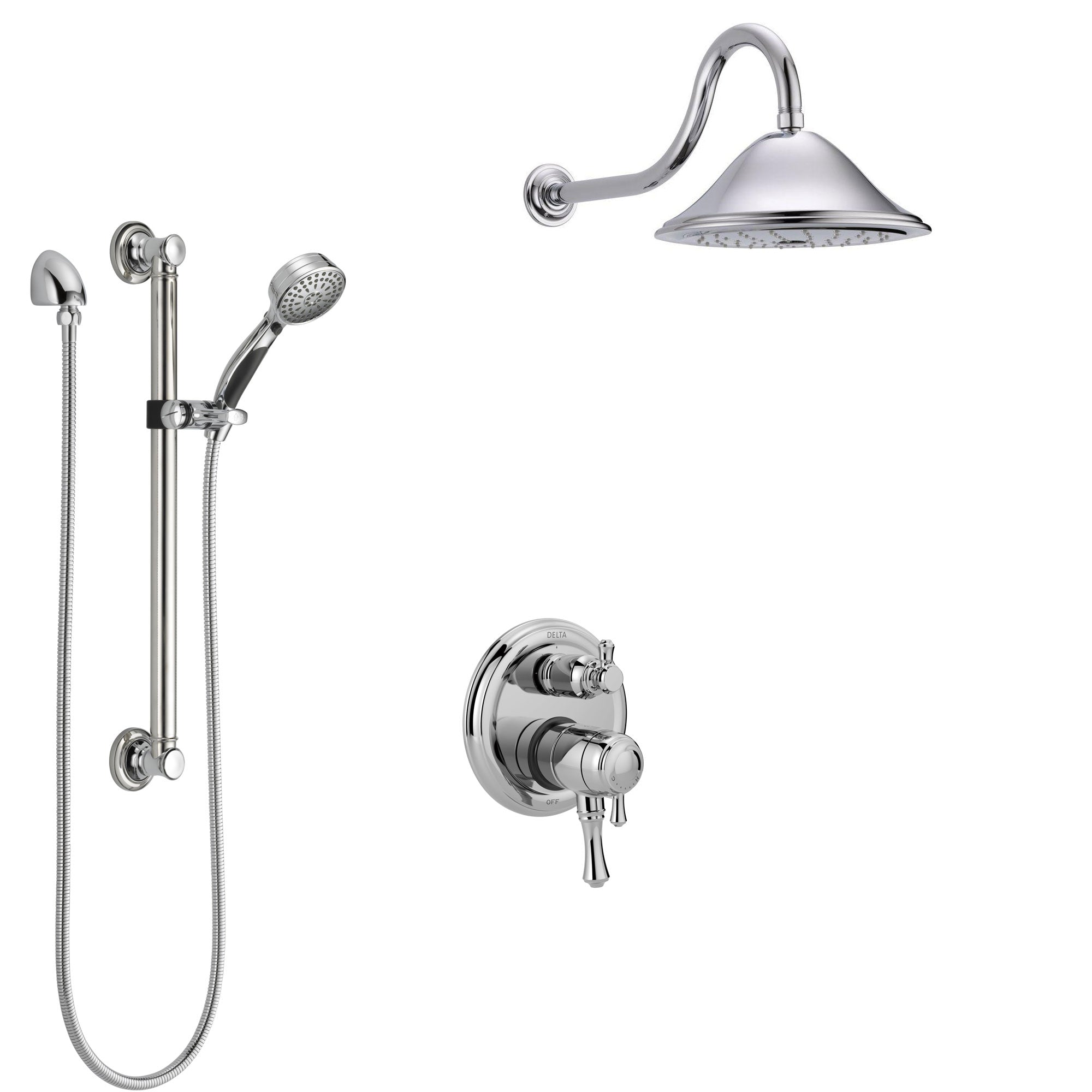Delta Cassidy Chrome Finish Shower System with Dual Control Handle, Integrated 3-Setting Diverter, Showerhead, and Hand Shower with Grab Bar SS278971