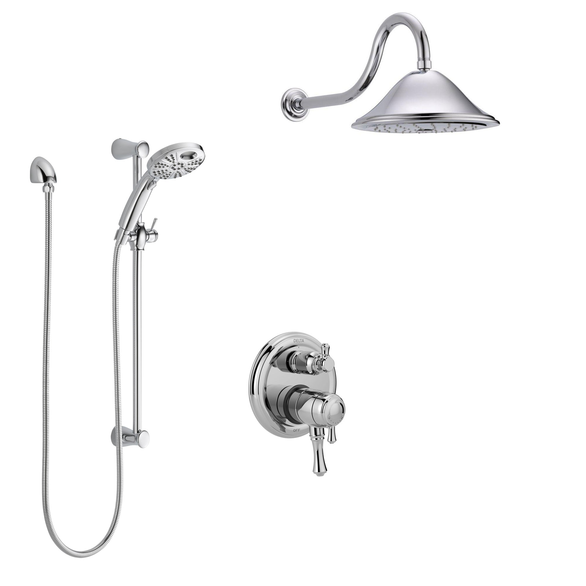 Delta Cassidy Chrome Finish Shower System with Dual Control Handle, Integrated Diverter, Showerhead, and Temp2O Hand Shower with Slidebar SS278973