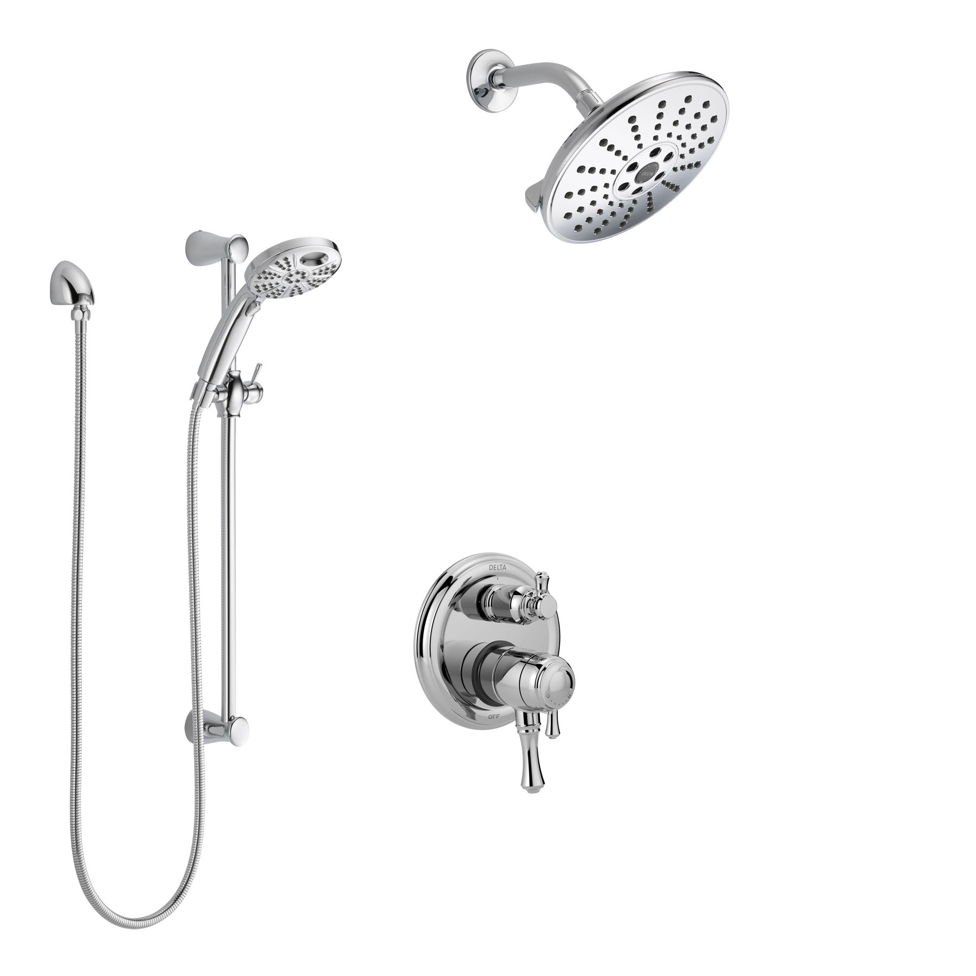Delta Cassidy Chrome Finish Shower System with Dual Control Handle, Integrated Diverter, Showerhead, and Temp2O Hand Shower with Slidebar SS278974