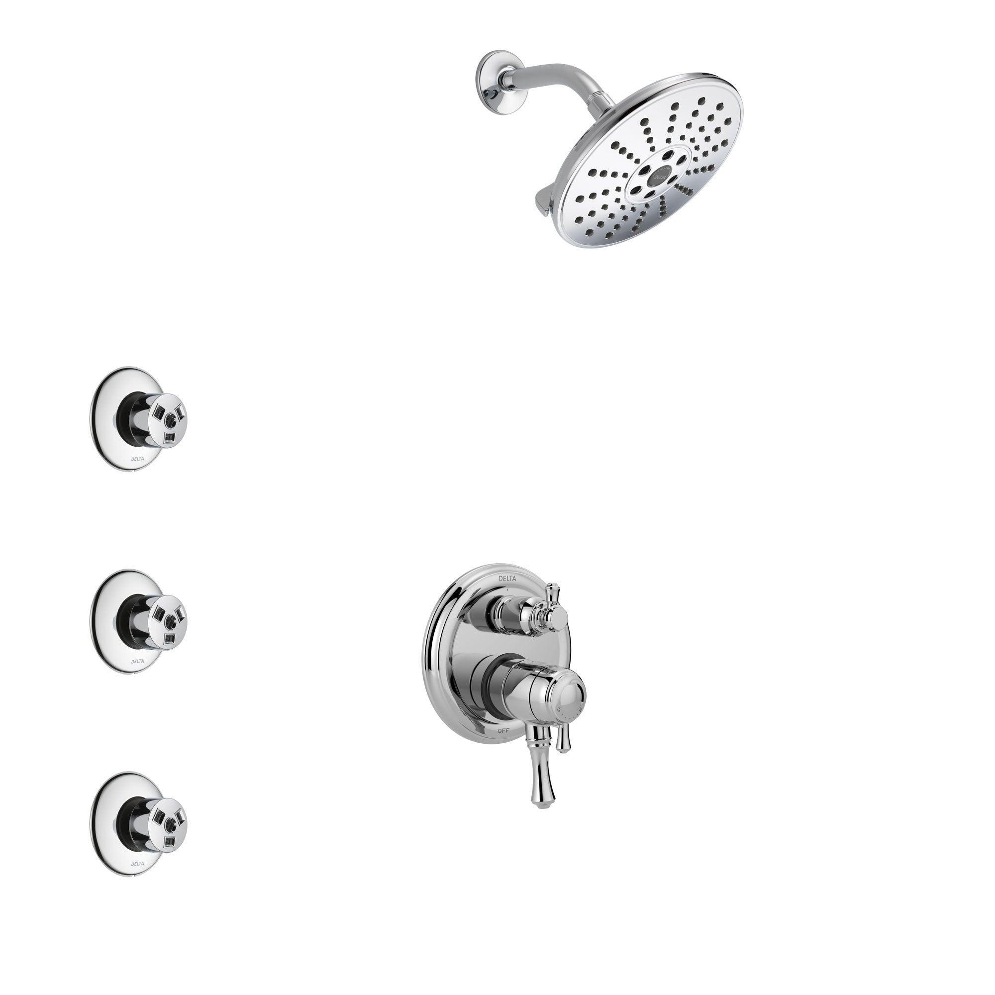 Delta Cassidy Chrome Finish Shower System with Dual Control Handle, Integrated 3-Setting Diverter, Showerhead, and 3 Body Sprays SS278977