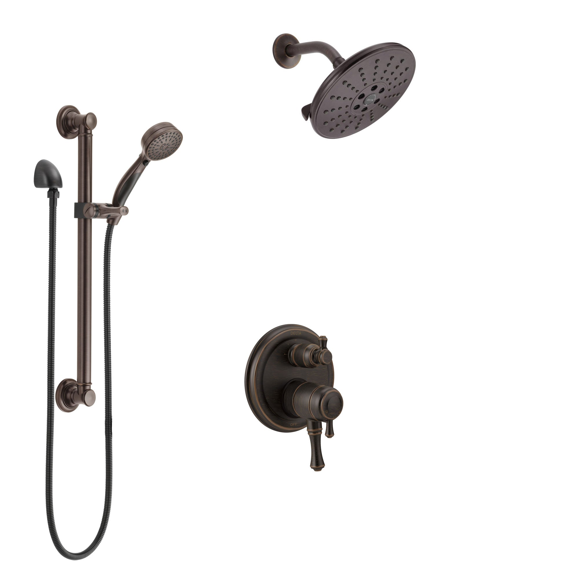 Delta Cassidy Venetian Bronze Shower System with Dual Control Handle, Integrated Diverter, Showerhead, and Hand Shower with Grab Bar SS27897RB11