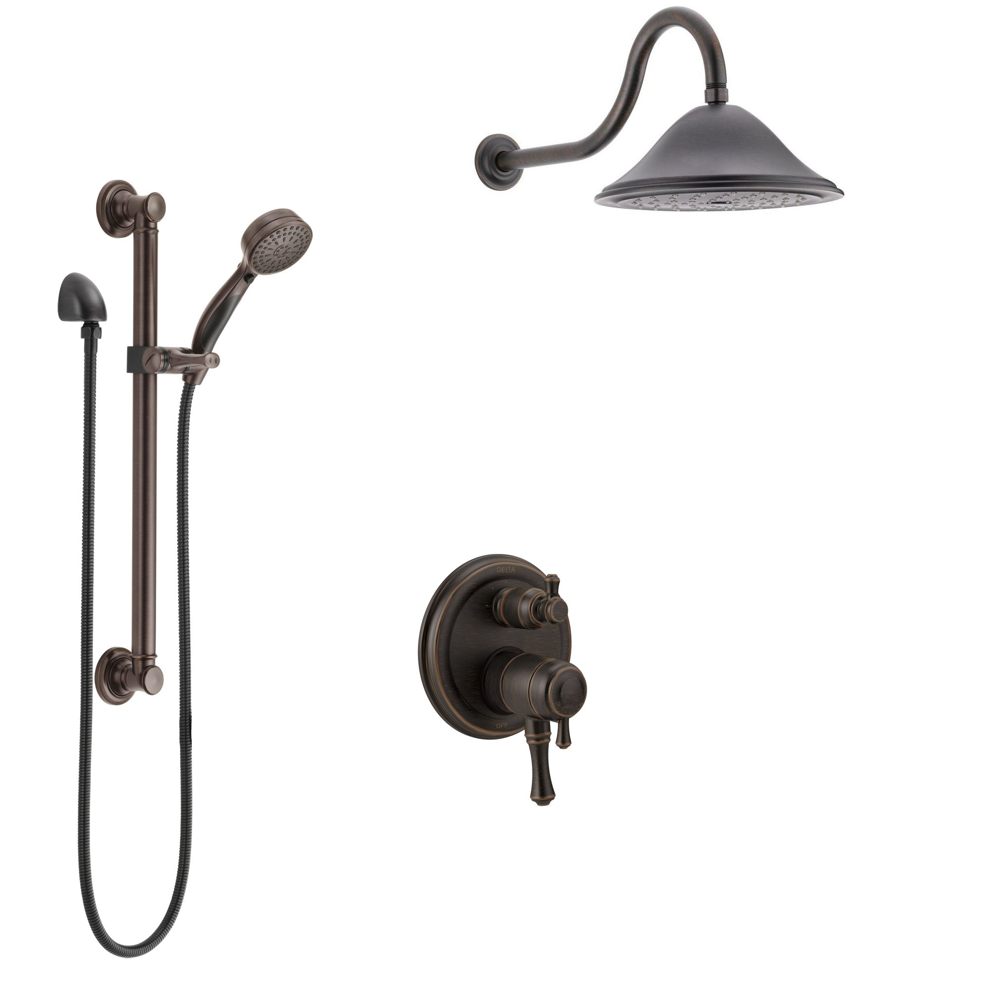 Delta Cassidy Venetian Bronze Shower System with Dual Control Handle, Integrated Diverter, Showerhead, and Hand Shower with Grab Bar SS27897RB12