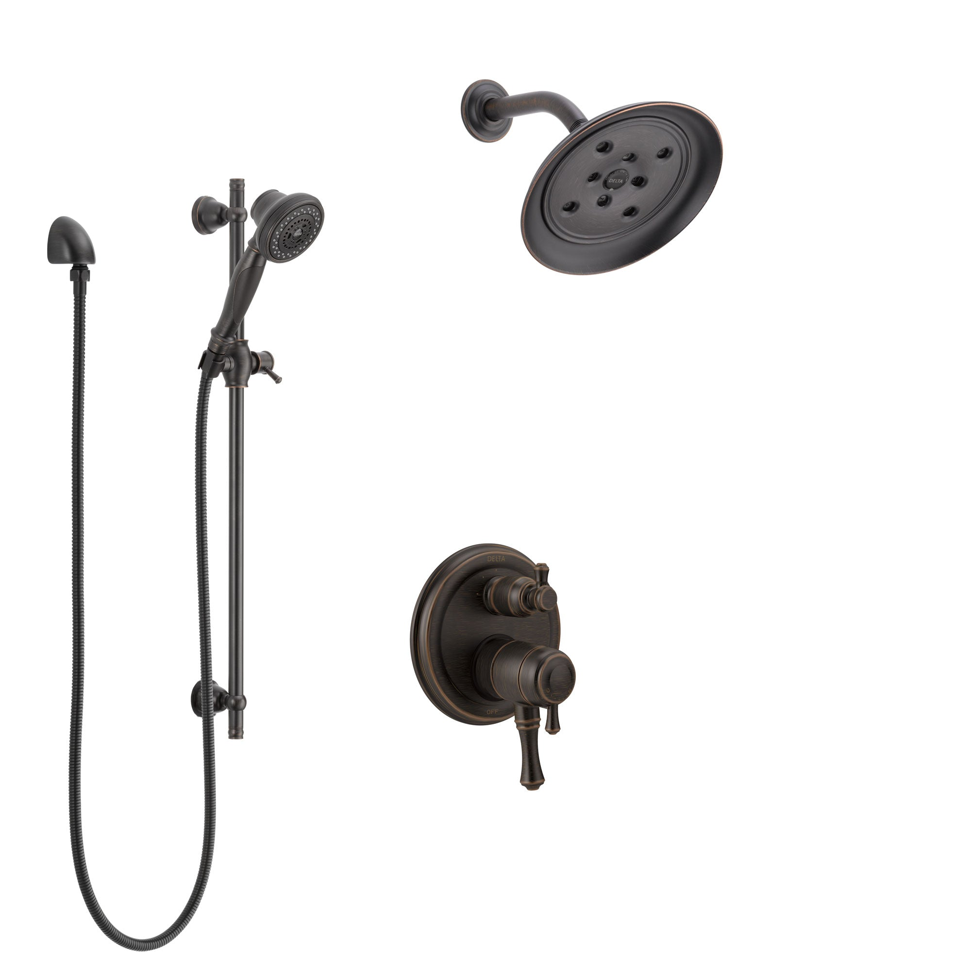 Delta Cassidy Venetian Bronze Shower System with Dual Control Handle, Integrated Diverter, Showerhead, and Hand Shower with Slidebar SS27897RB1